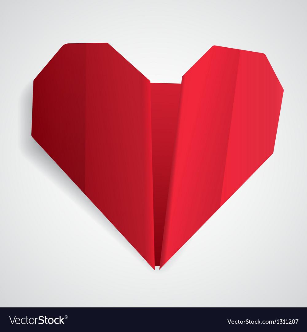 Big red origami heart vector