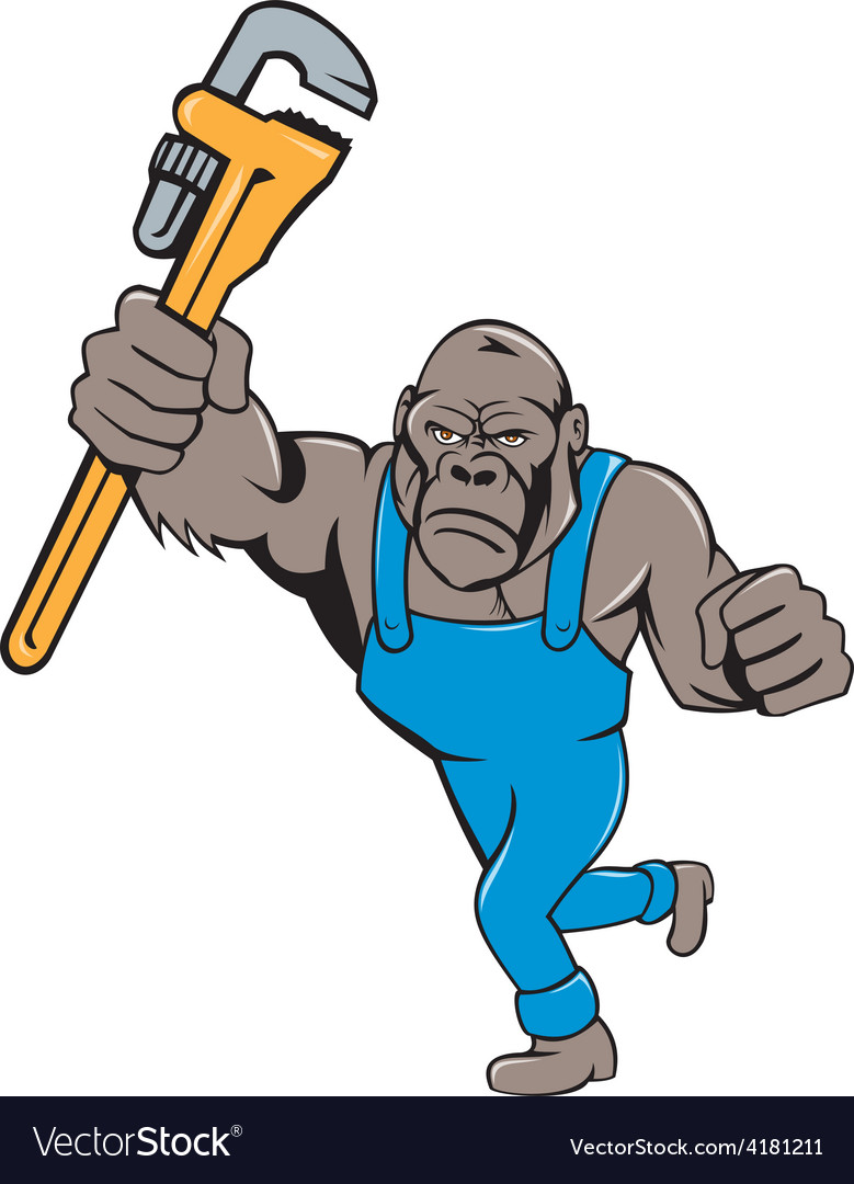Angry gorilla plumber monkey wrench isolated vector