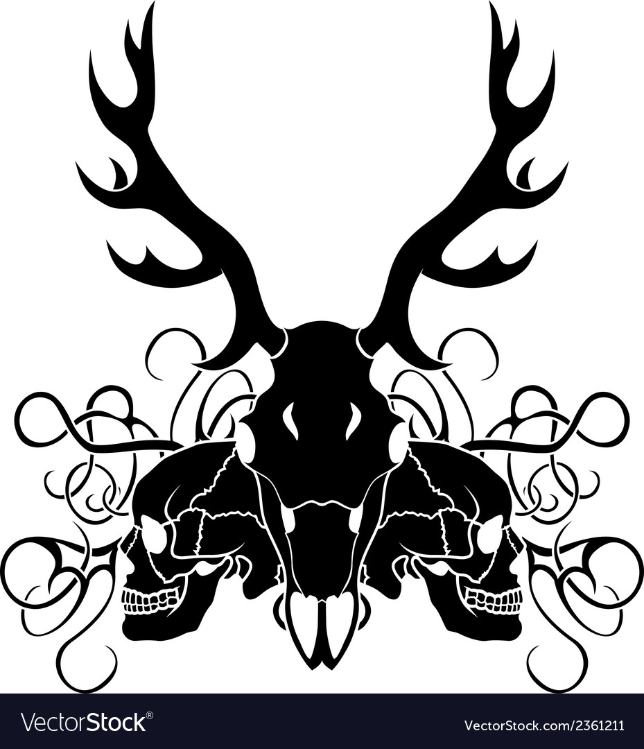 Deer skull and human skull composition vector