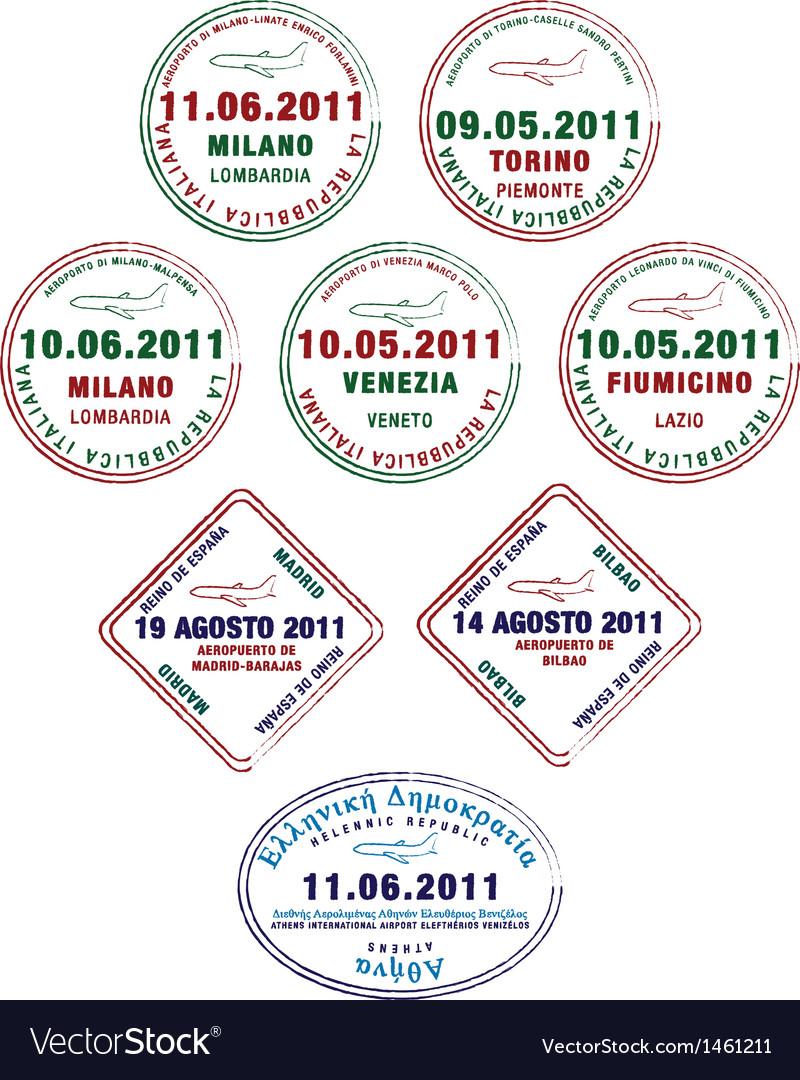 Europe passport stamps vector