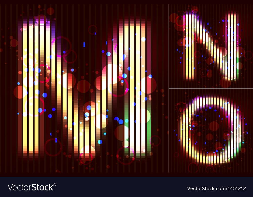 Neon light alphabet - mno vector
