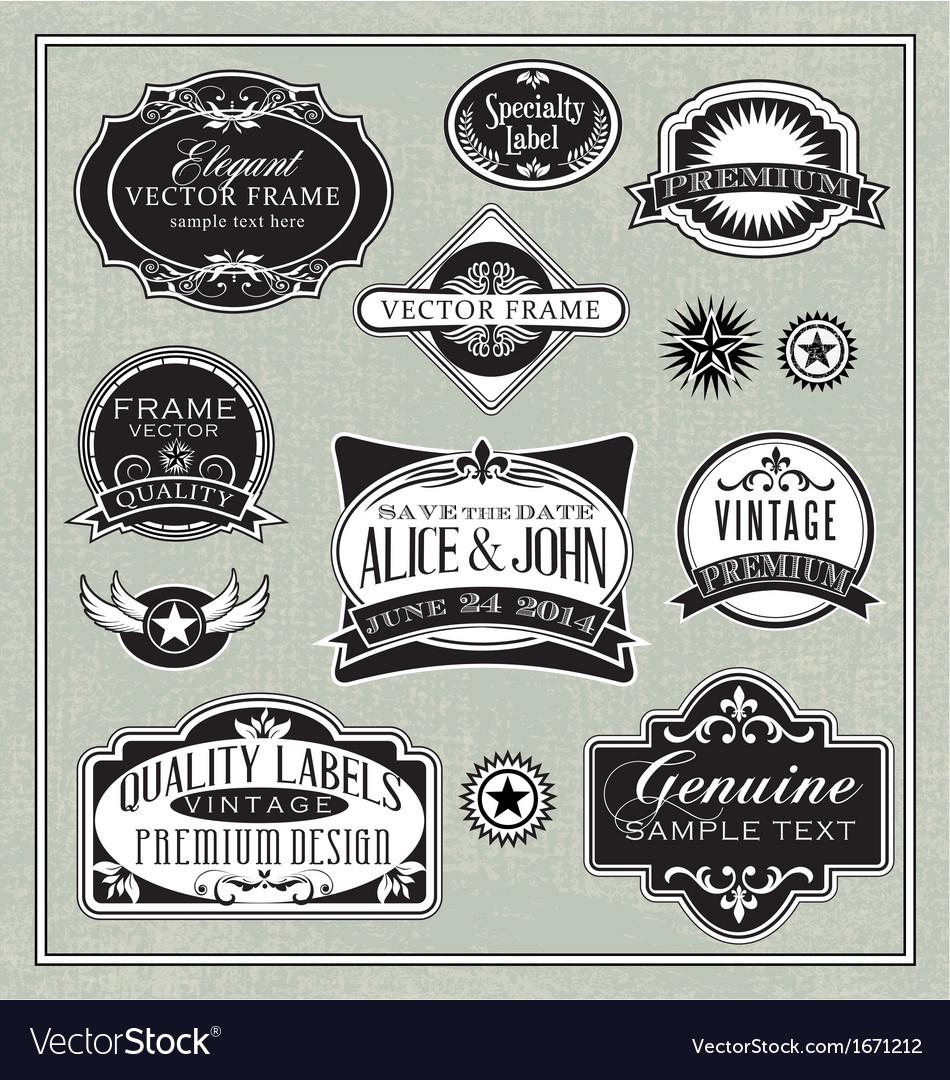 Vintage labels frames design elements vector