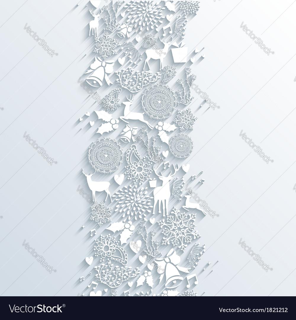 White christmas season 3d banner seamless pattern vector
