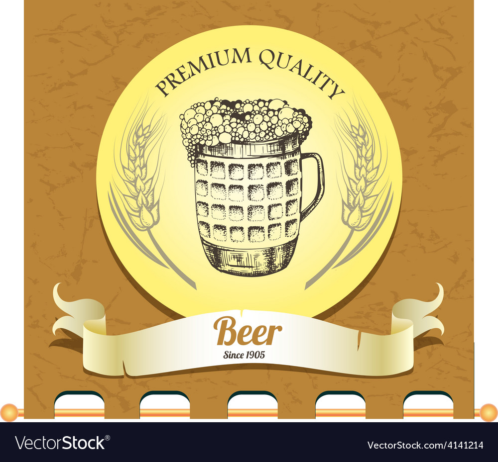 Banner with mug of beer vector