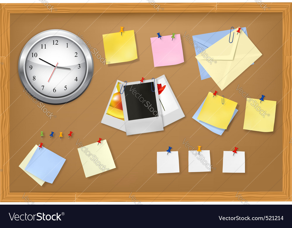 Clock office supplies on brown desk vector