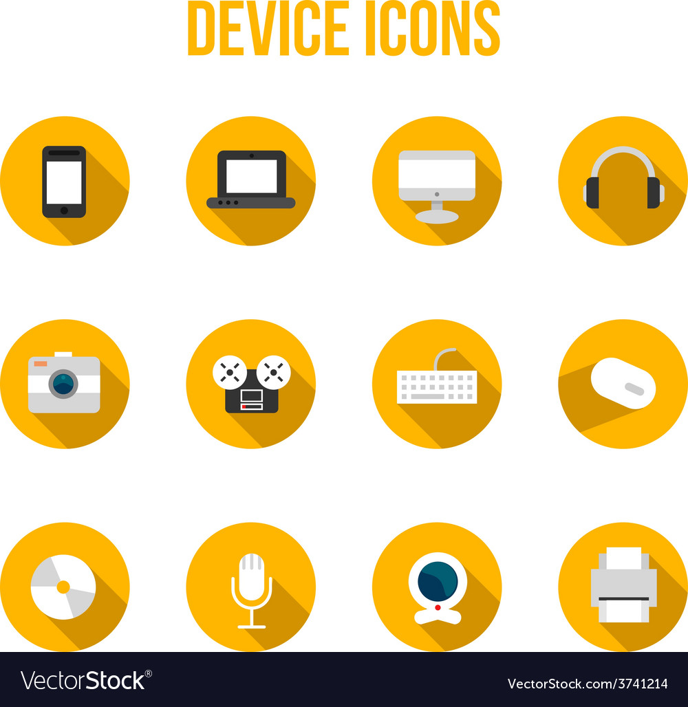 Flat colourful device icons with headphones vector