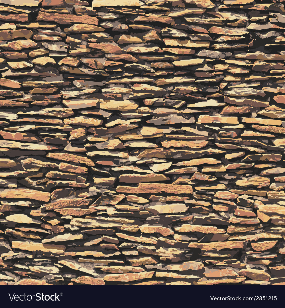 Stone wall brown relief texture with shadow vector