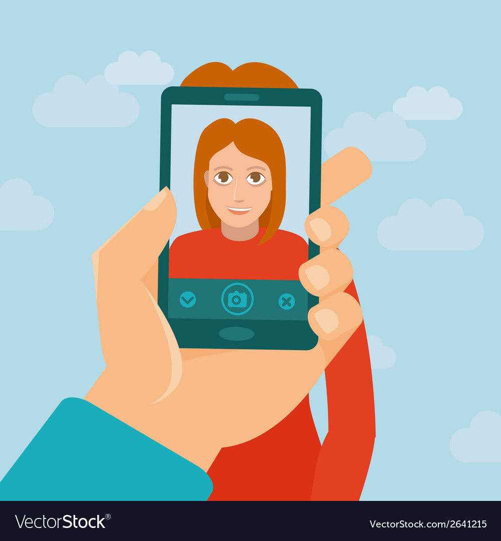 Taking photo with mobile phone vector