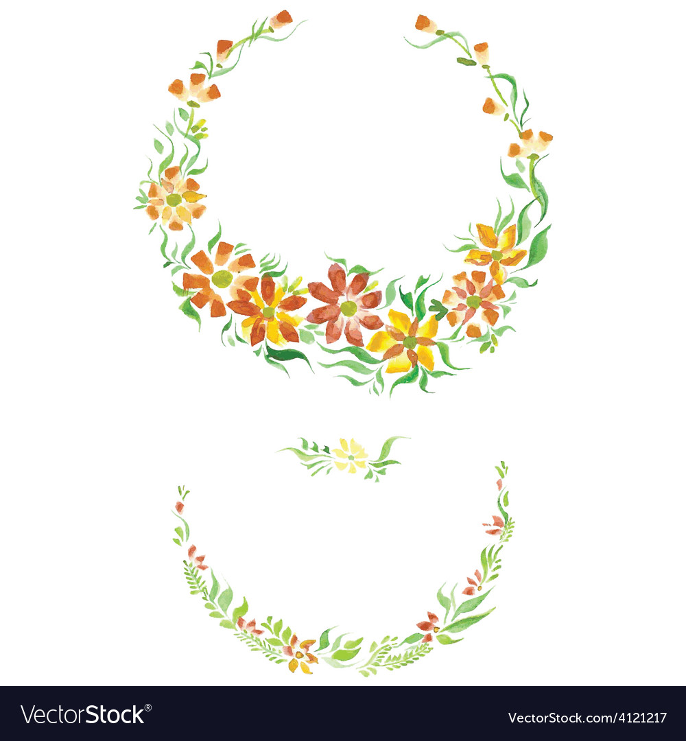 Watercolor beautiful flowers with leaves vector