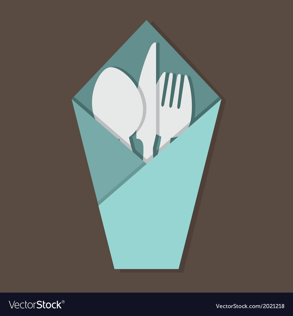 Knife fork spoon set in table napkin vector