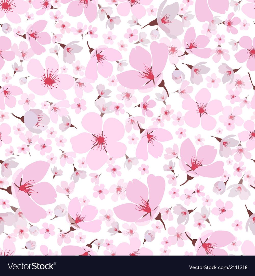 Seamless pattern of pink spring sakura blossom vector