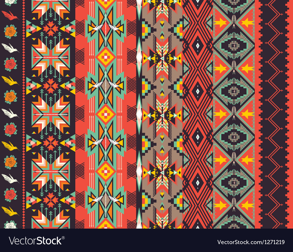 Aztecs seamless pattern on hot color vector
