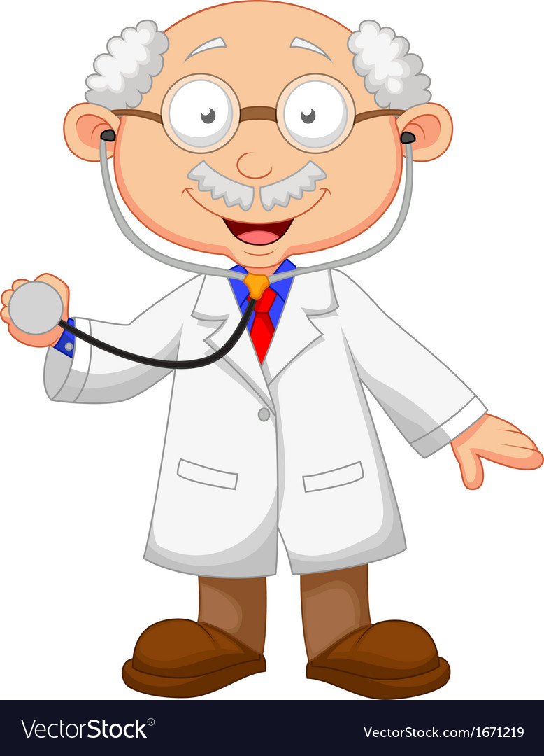 Cartoon doctor with stethoscope vector