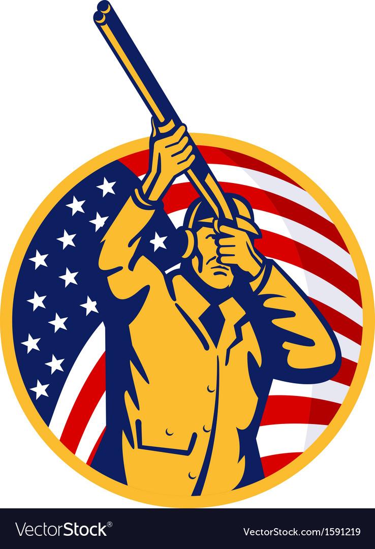 Hunter with shotgun rifle and american flag vector