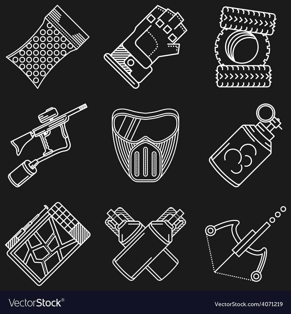 Paintball white line icons vector