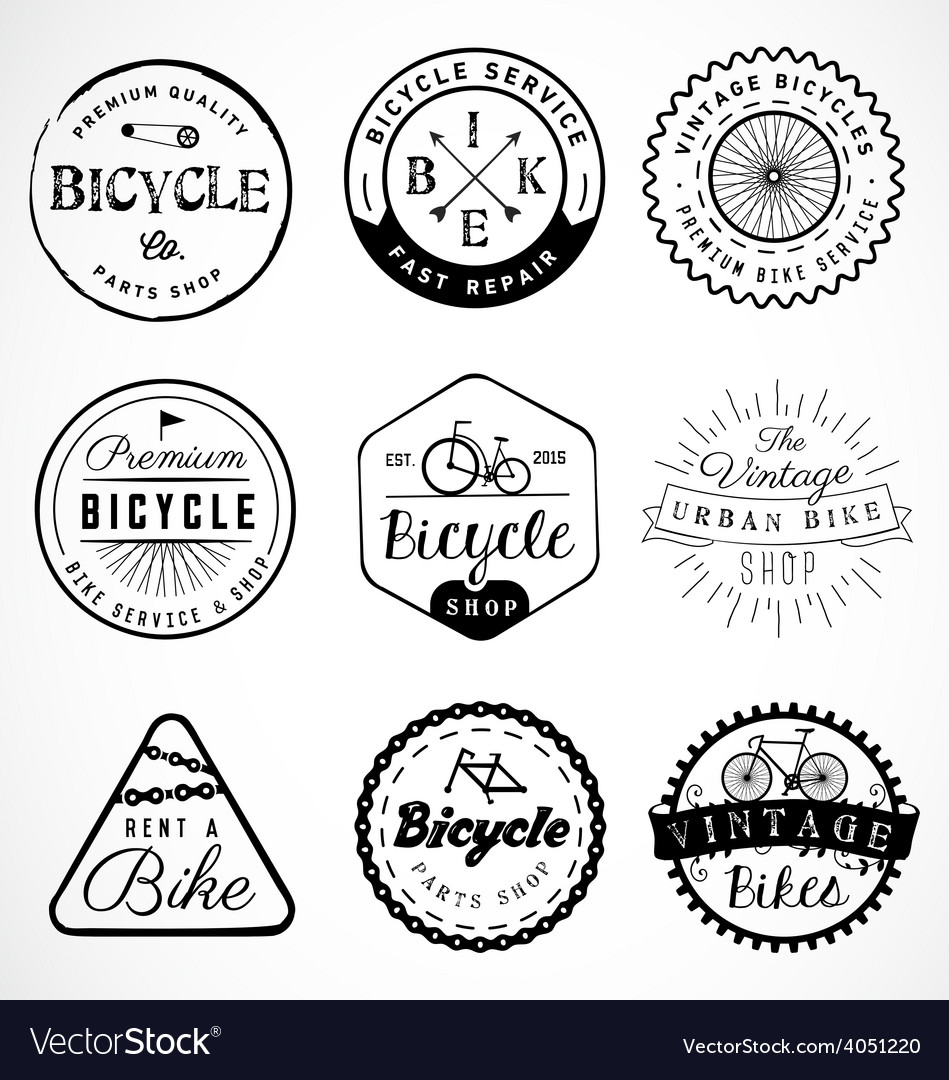 Bicycle badge and labels in vintage style vector