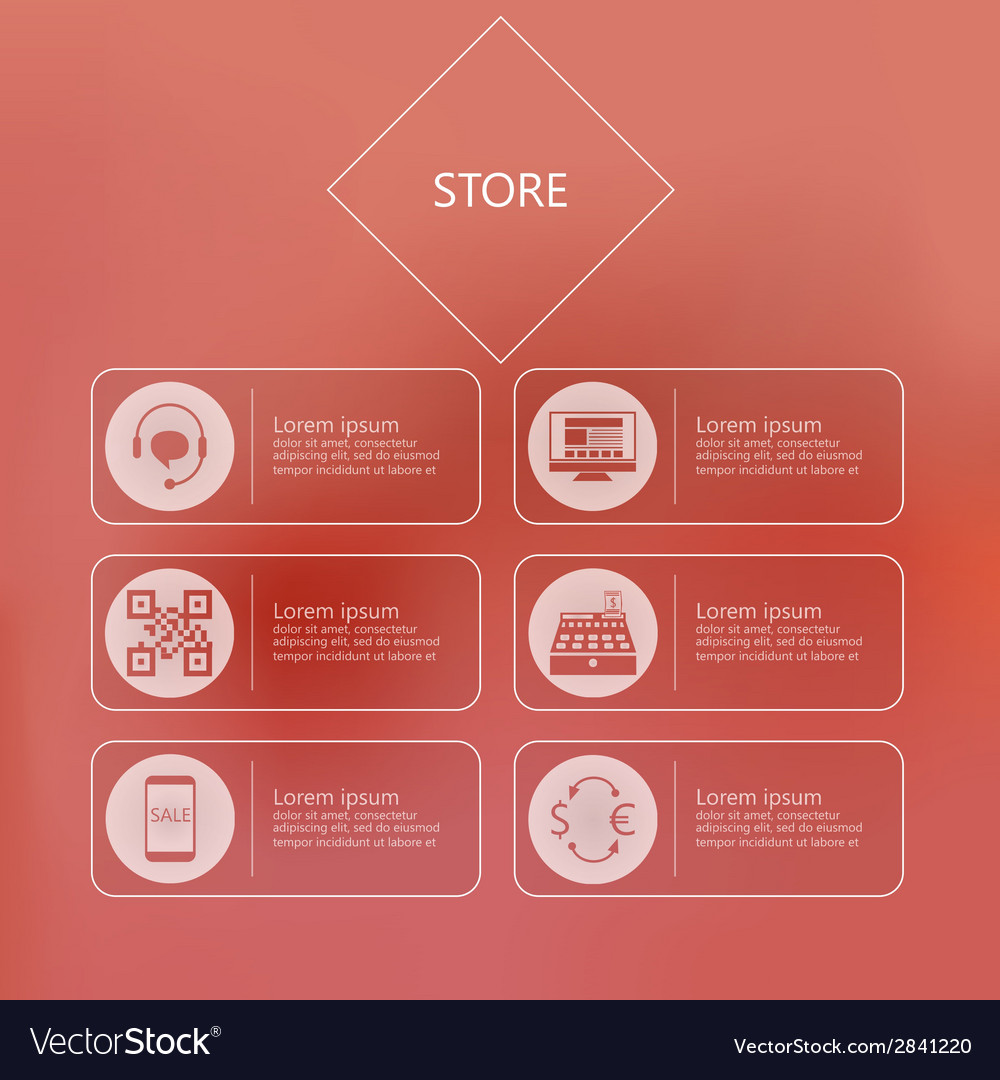 Stylized icons for store in internet vector