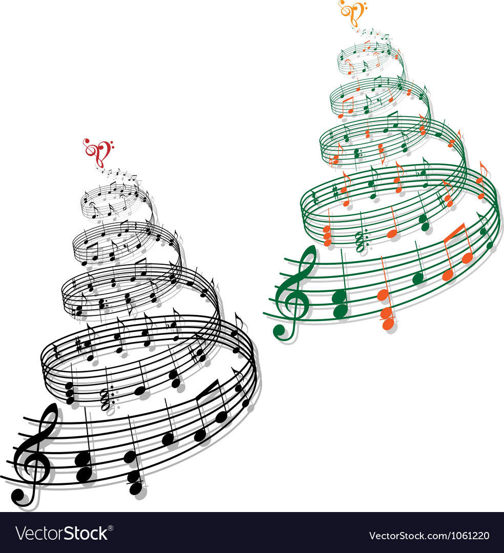 Trees with music notes vector