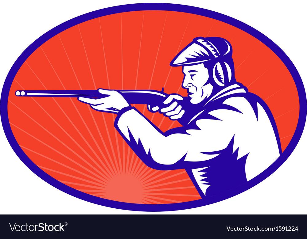 Hunter aiming a shotgun rifle side vector