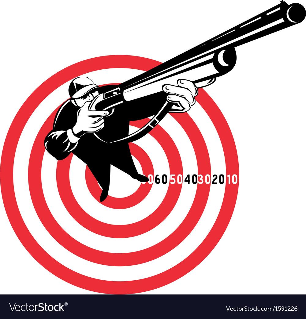 Hunter aiming rifle shotgun bulls eye high angle vector