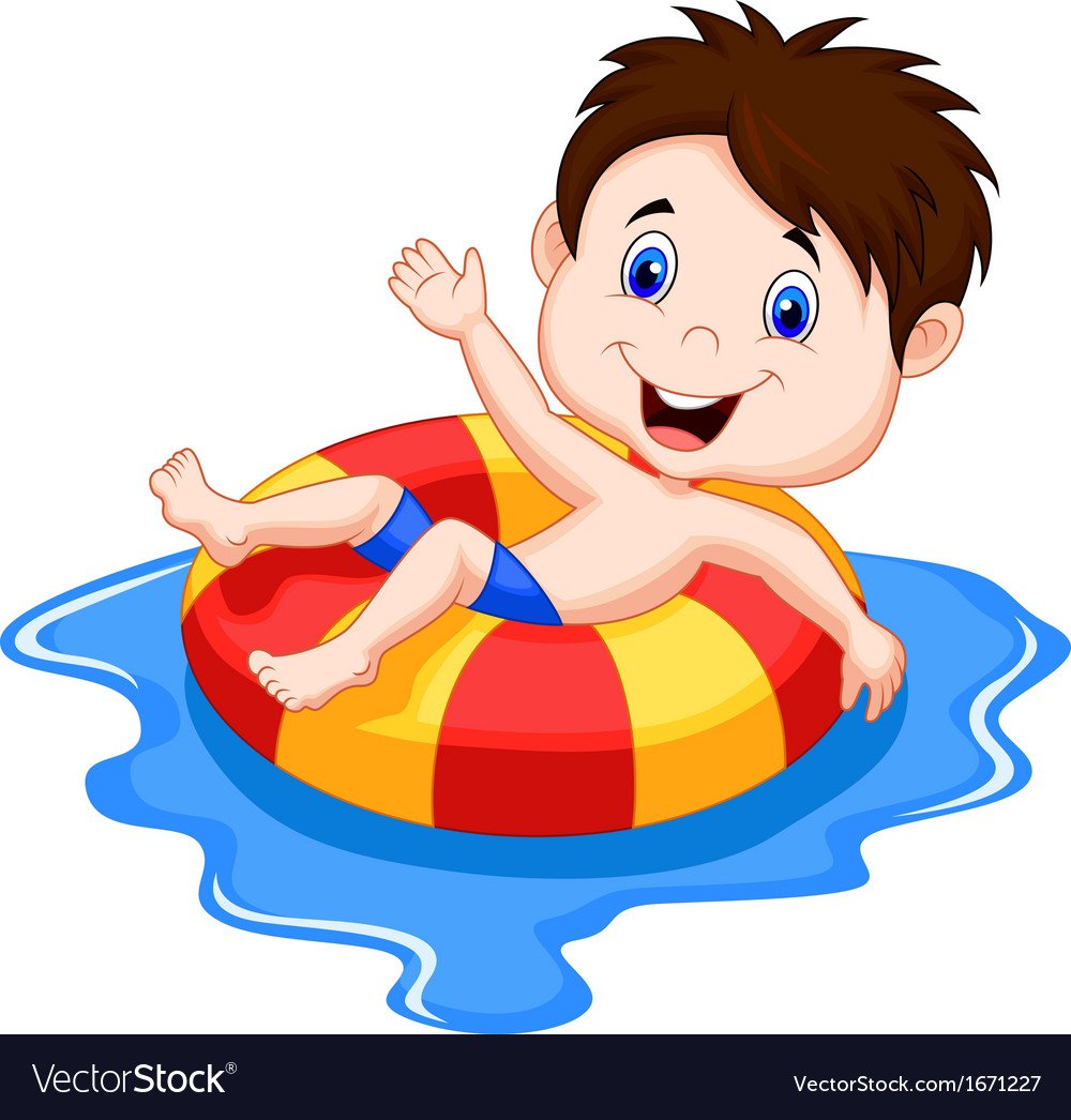 Boy cartoon floating on an inflatable circle in th vector