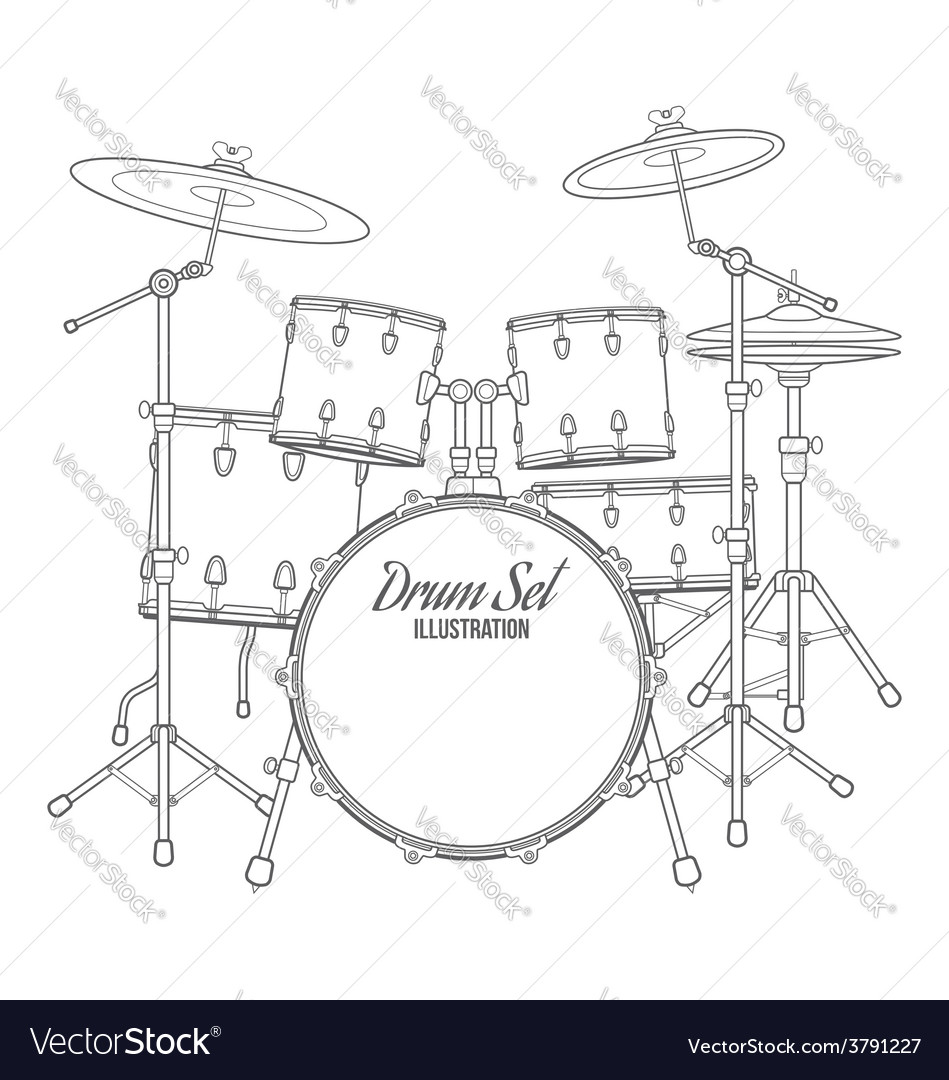 Dark contour drum set technical vector