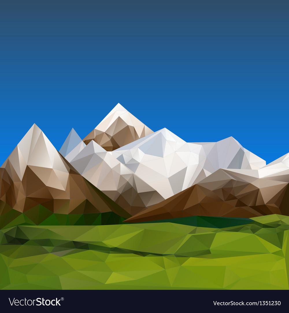 Mountainous terrain polygonal background vector