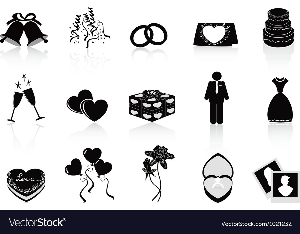 Black wedding icons set vector