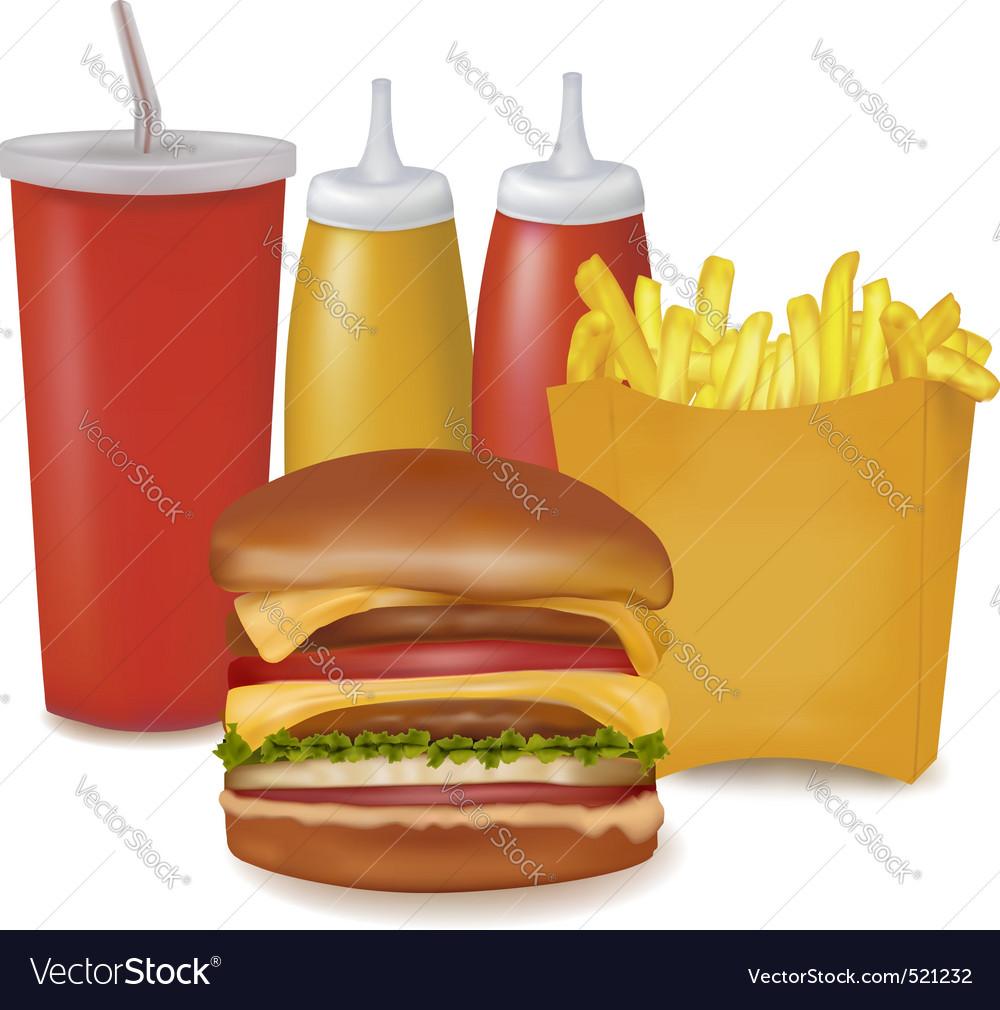Group of cheeseburger and cola vector