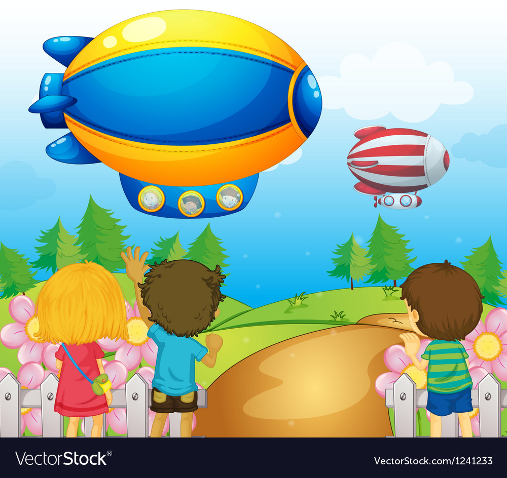 Kids watching the airships vector