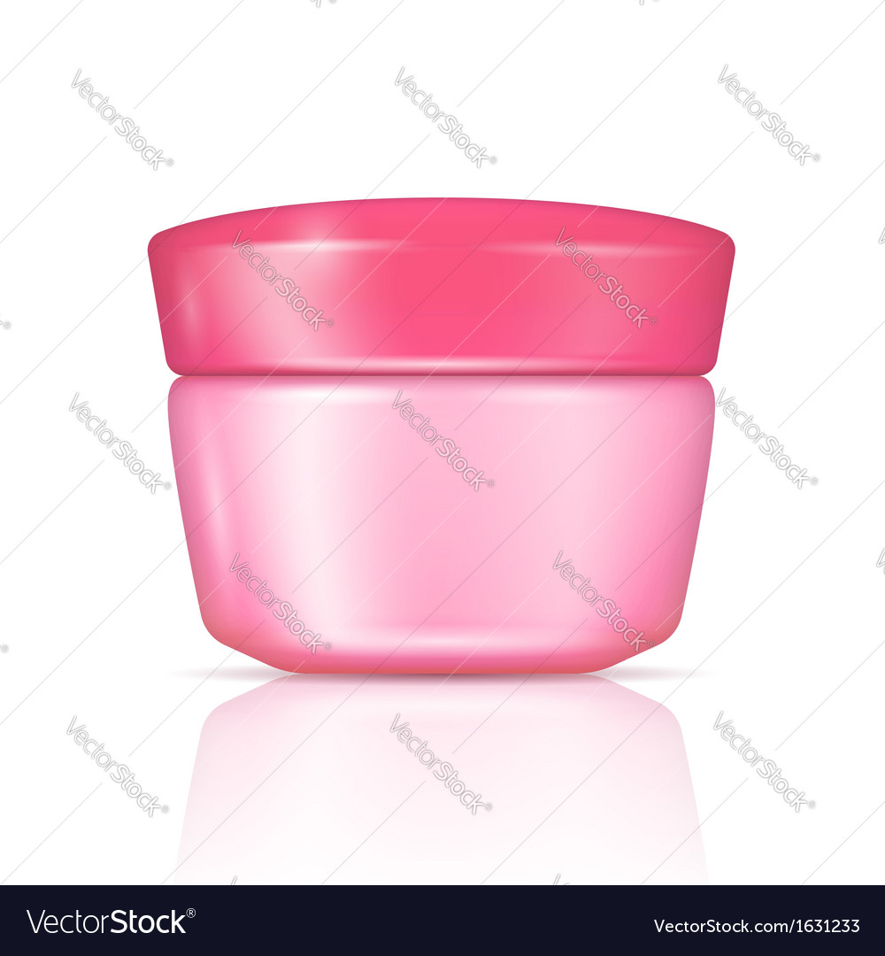 Pink body cream can with lid vector