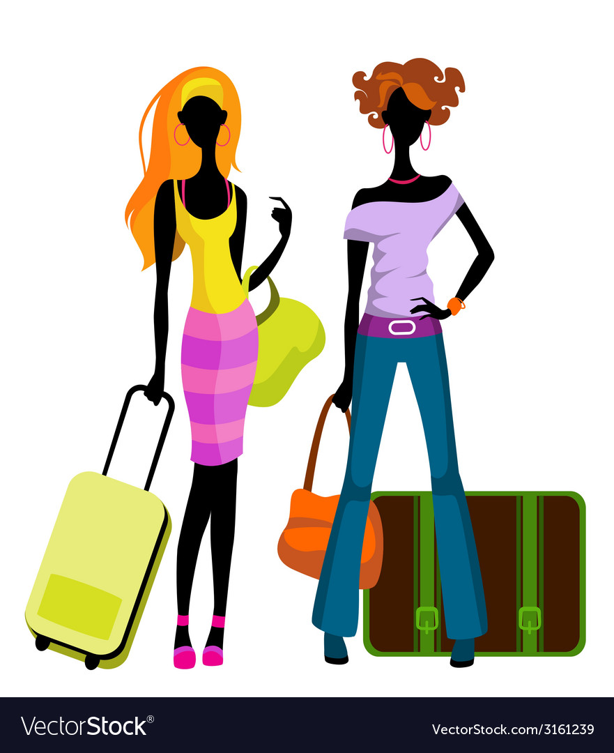 Girls with suitcases vector