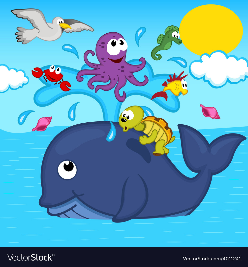Whale and marine animals vector