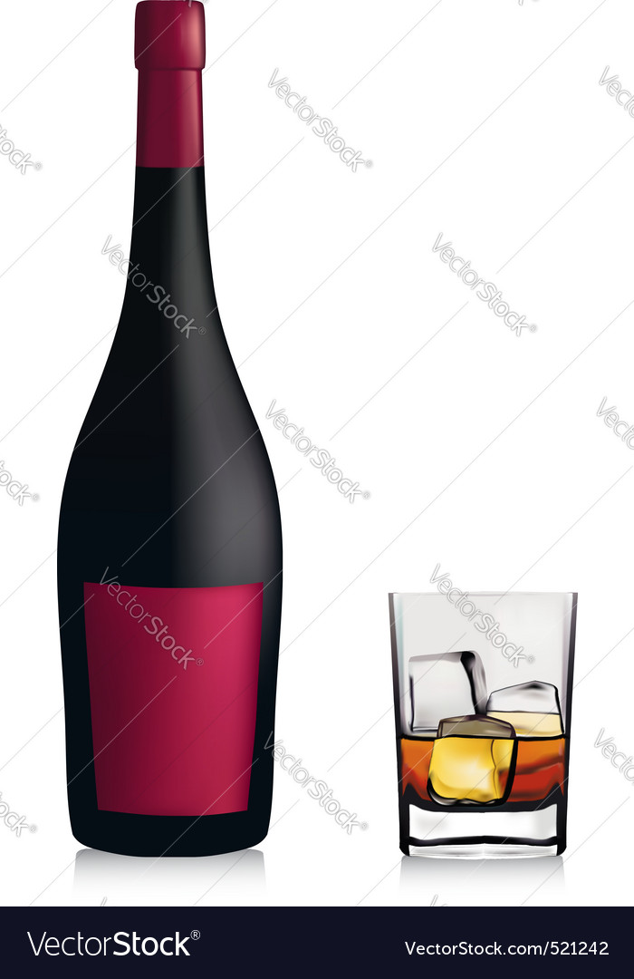 Bottle and lass with whiskey vector