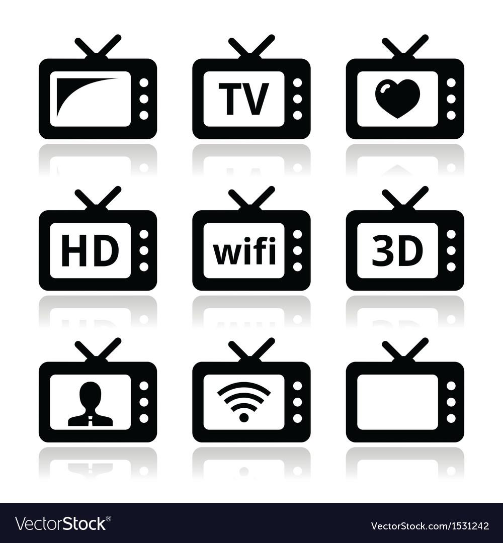 Tv set 3d hd icons vector