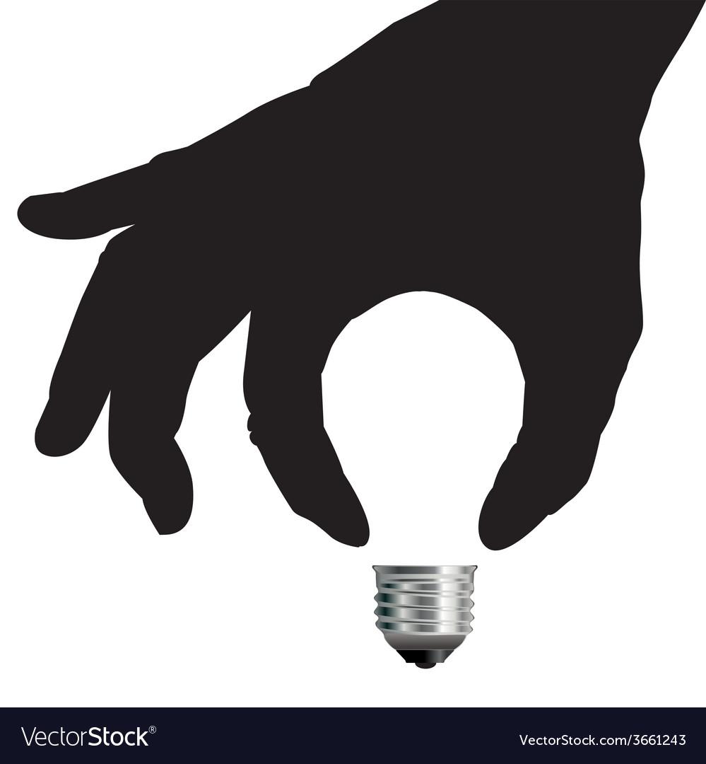 Light bulb idea concept with hand vector
