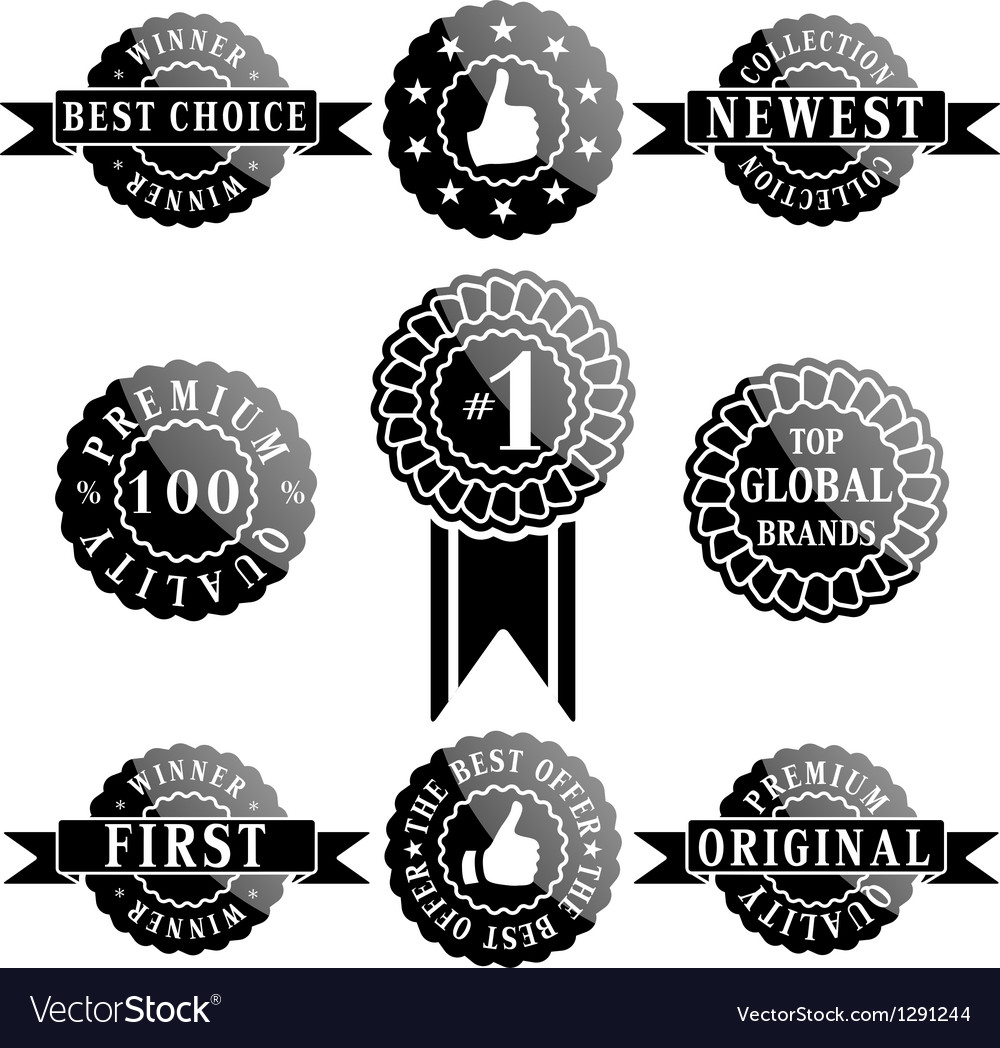 Set of premium quality and winner labels vector