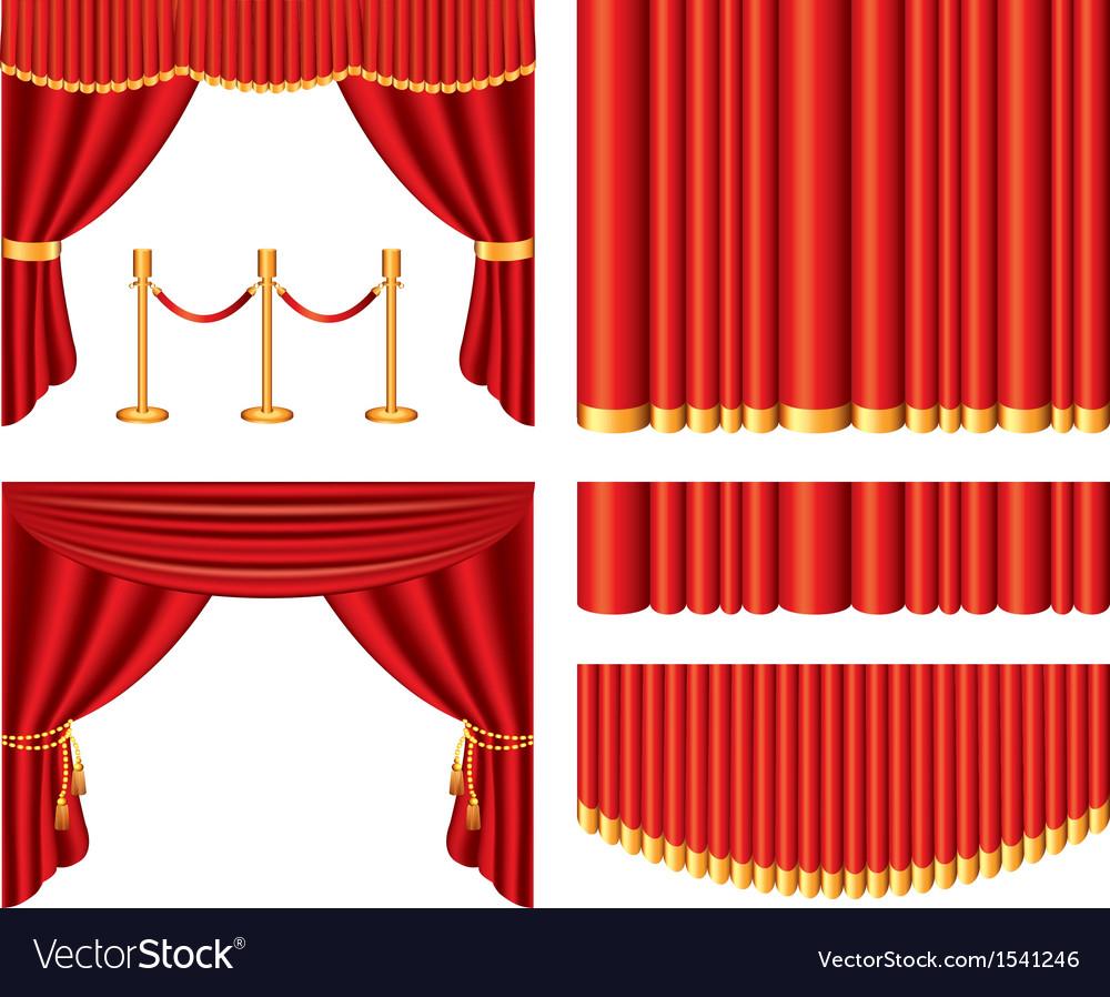 Curtains set vector