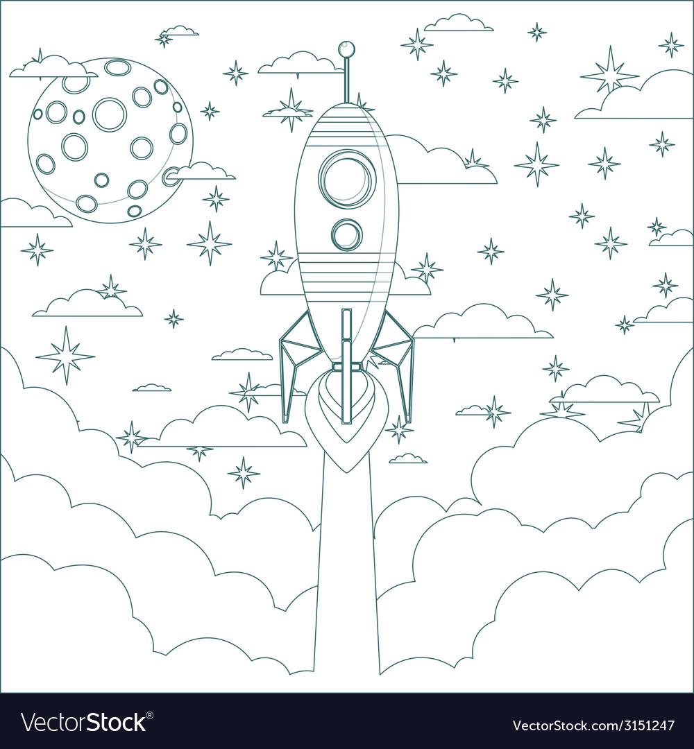 Cartoon flying rocket in the sky contour vector