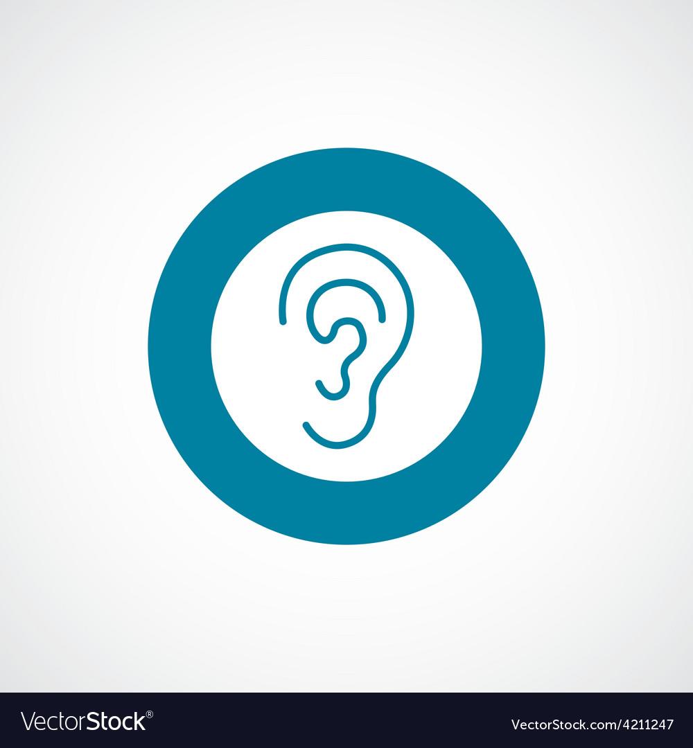 Ear icon bold blue circle border vector