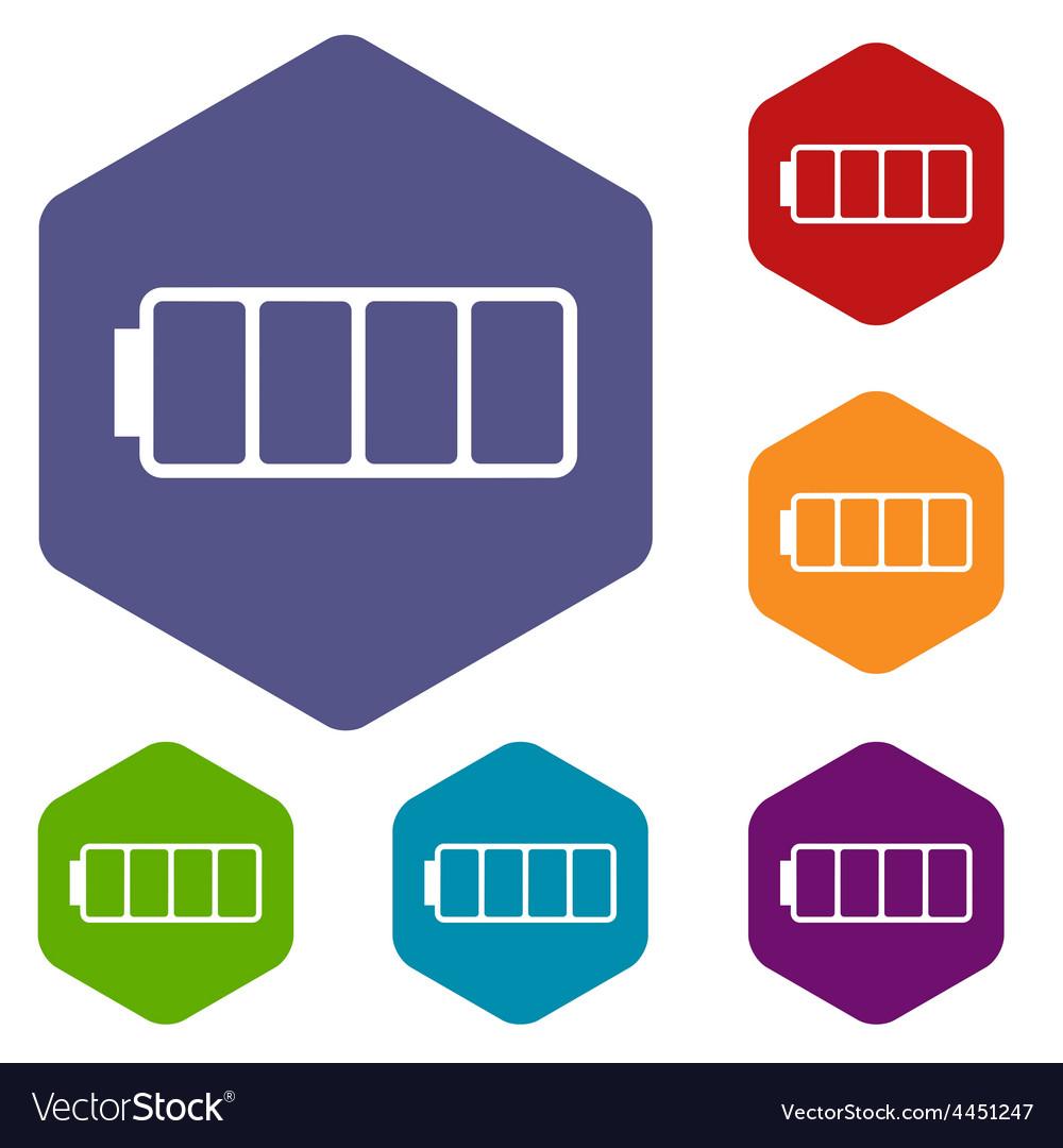 Empty battery rhombus icons vector