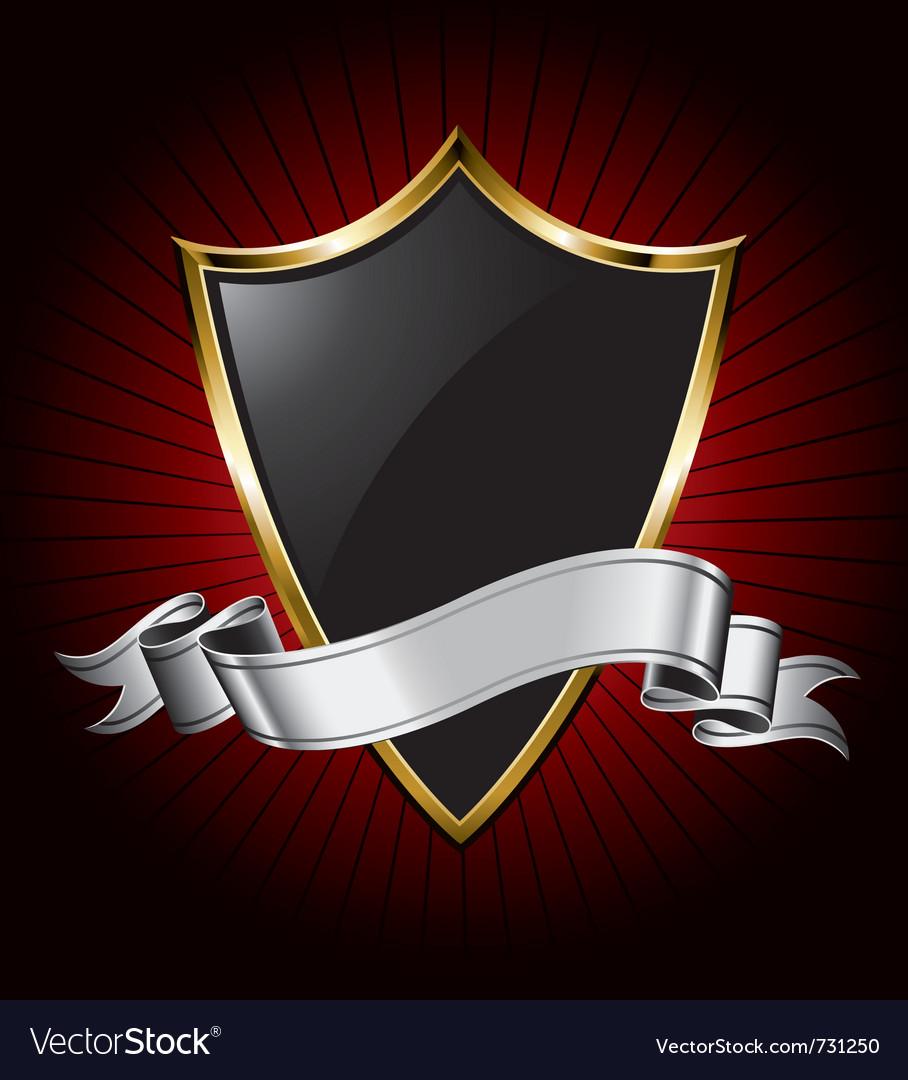 Black shield and silver ribbon vector