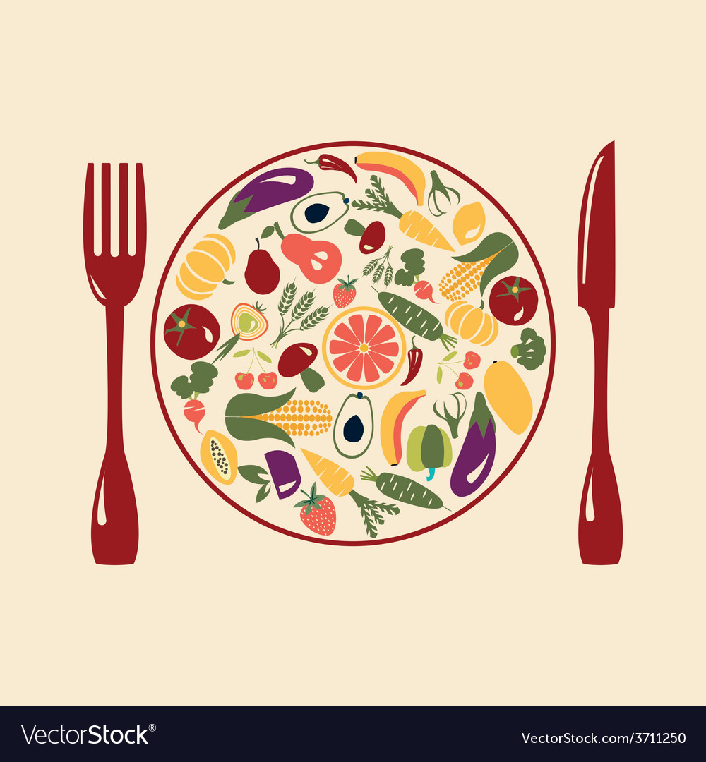 Healthy food restaurant icons vector