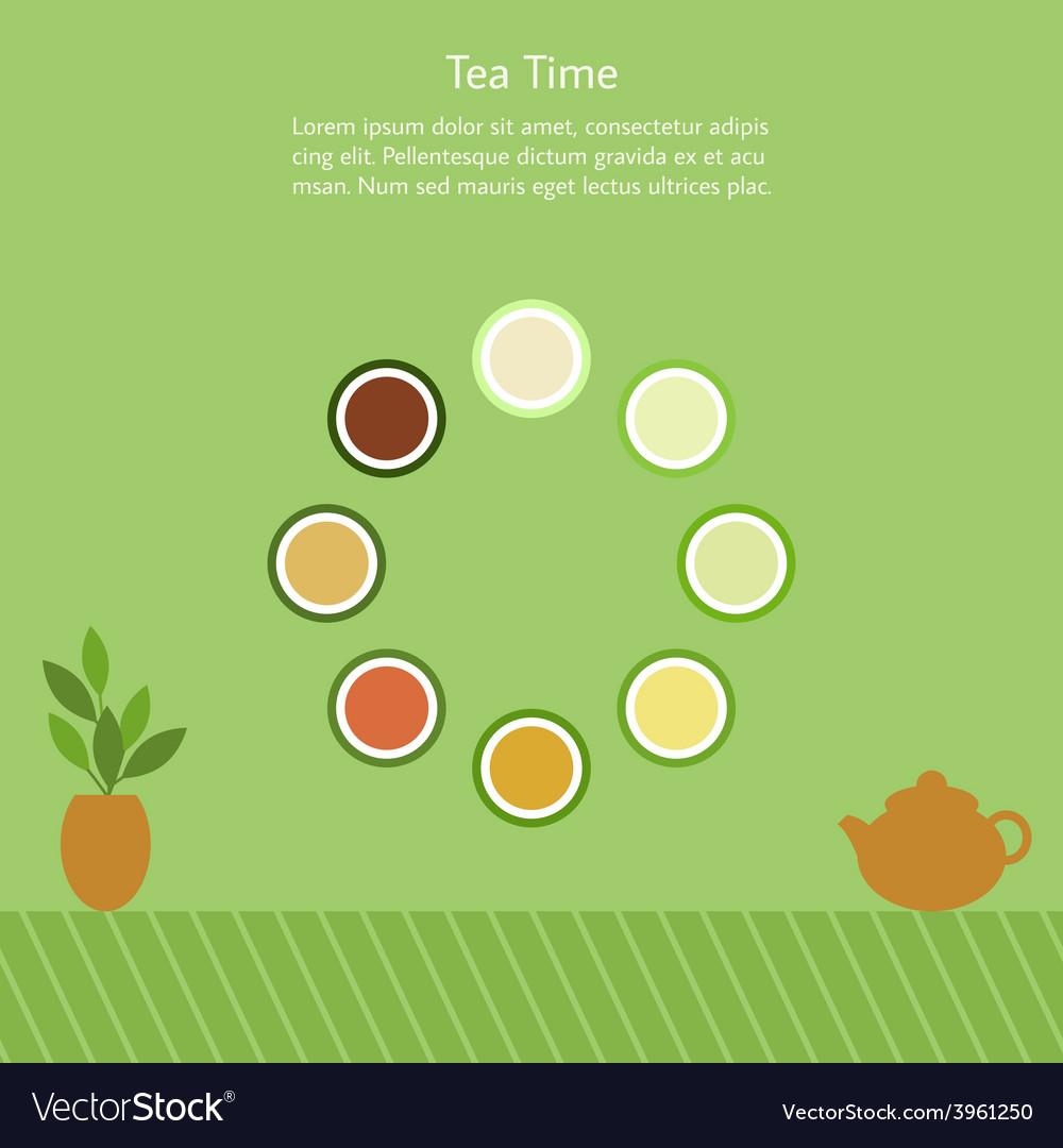 With cups of chinese tea vector