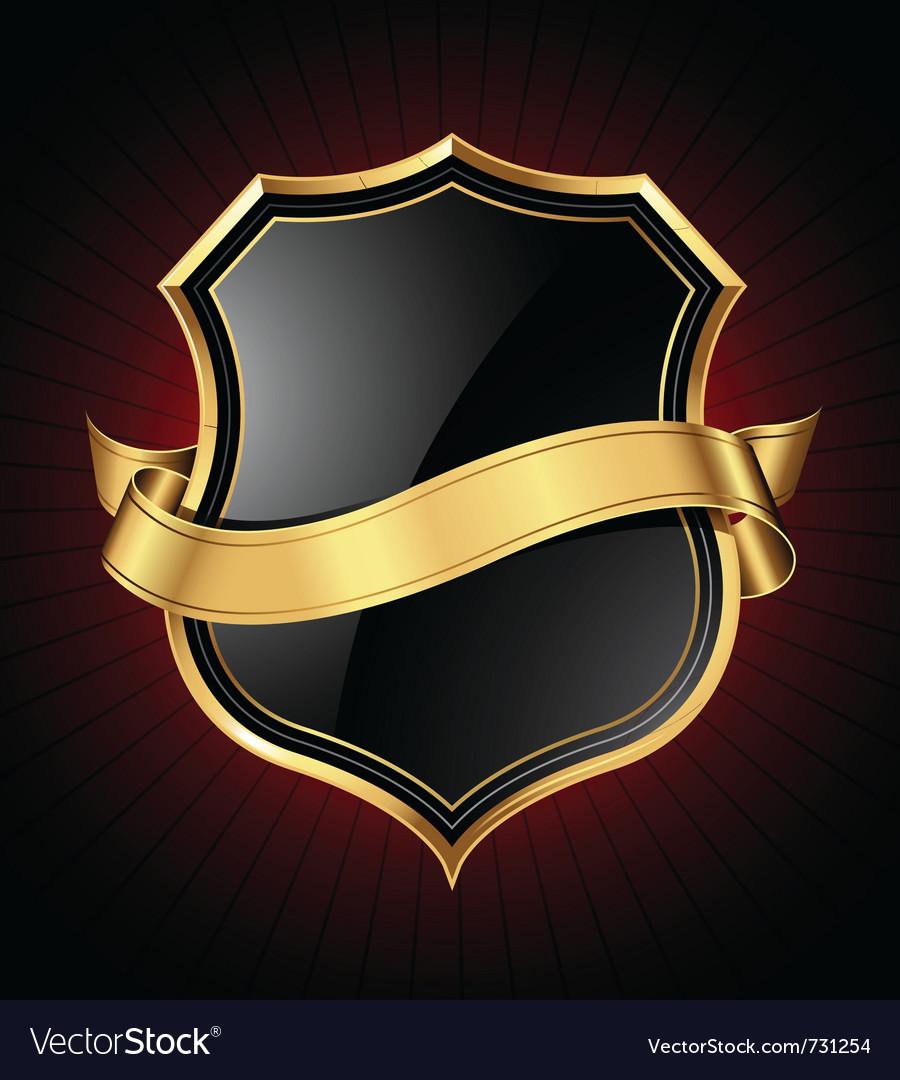 Black and gold shield and ribbon vector