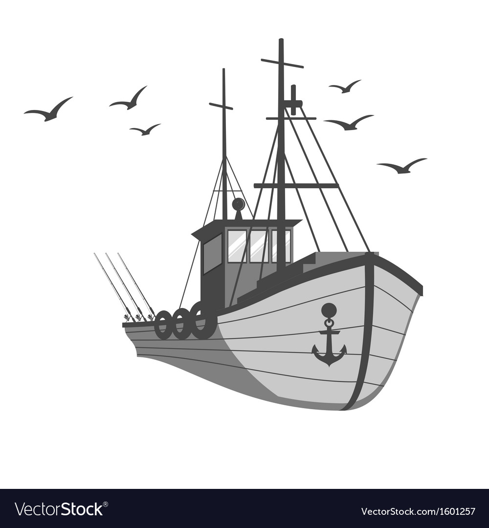 Fishing ship vector