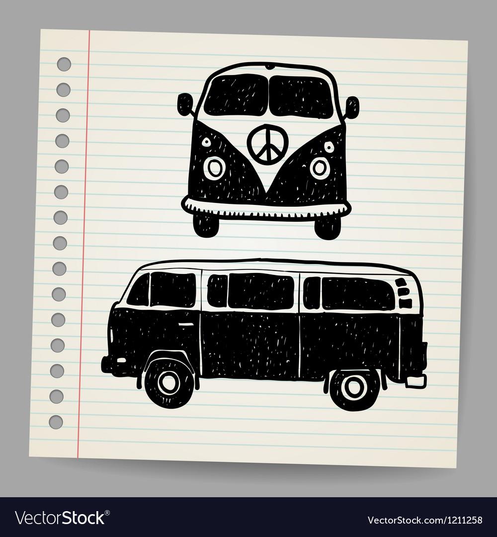 Retro tropical happy hippie micro surfboard bus vector