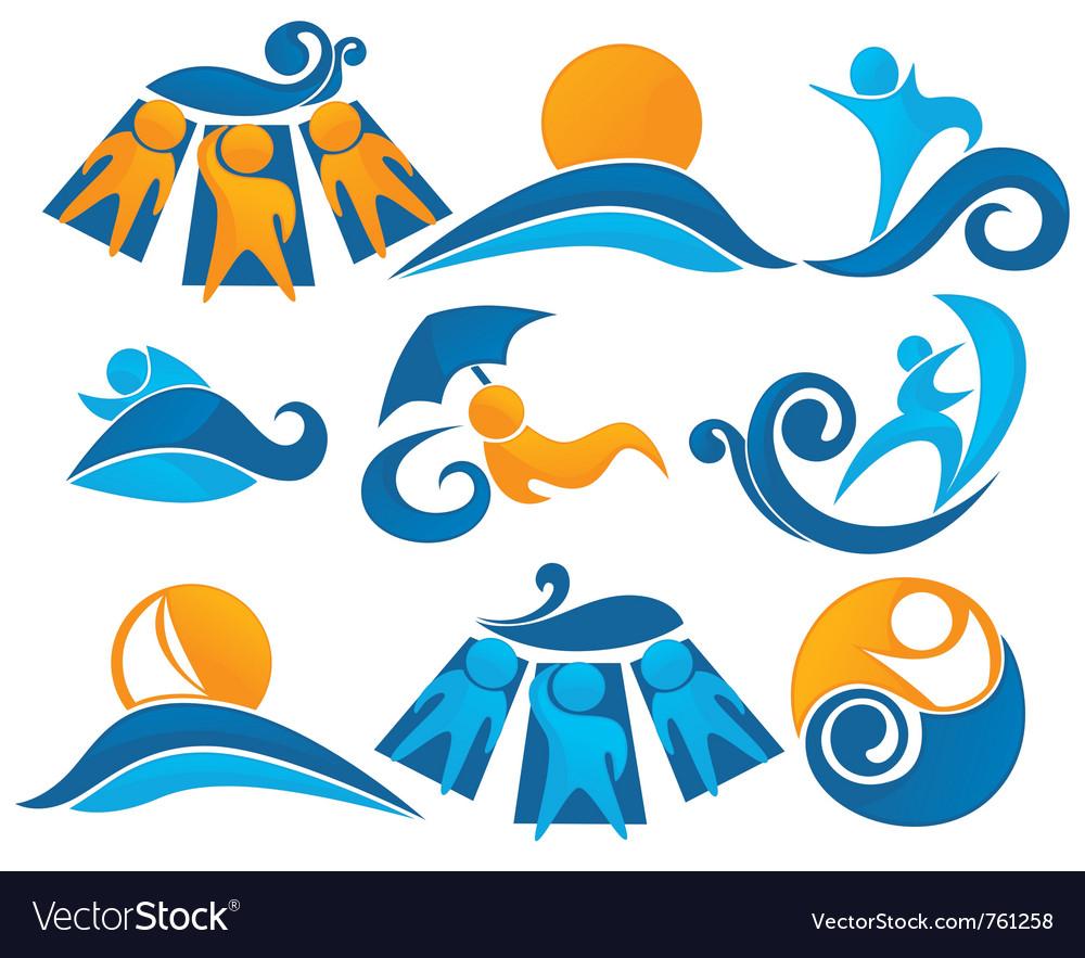 Wave surf sunbathing vector