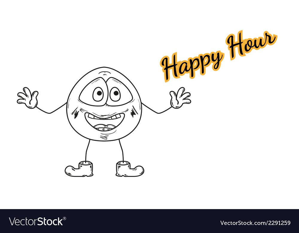 Happy hour with emoticon vector