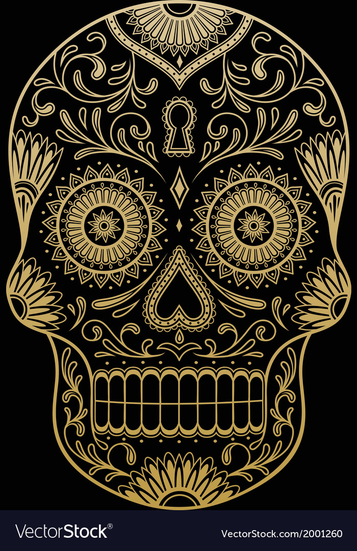 Ornate-one-color-sugar-skull-vector